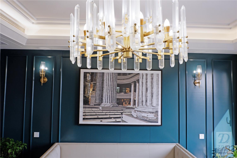 190㎡美式轻奢风装修客厅吊灯设计图