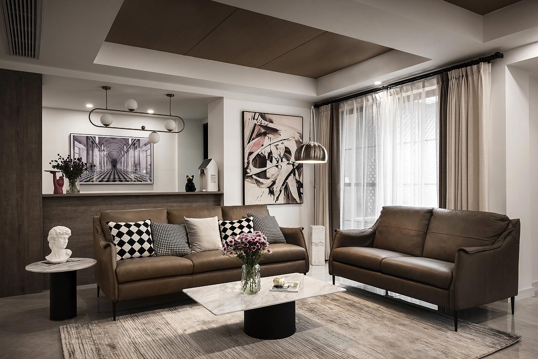 大户型复式现代简约客厅装修效果图