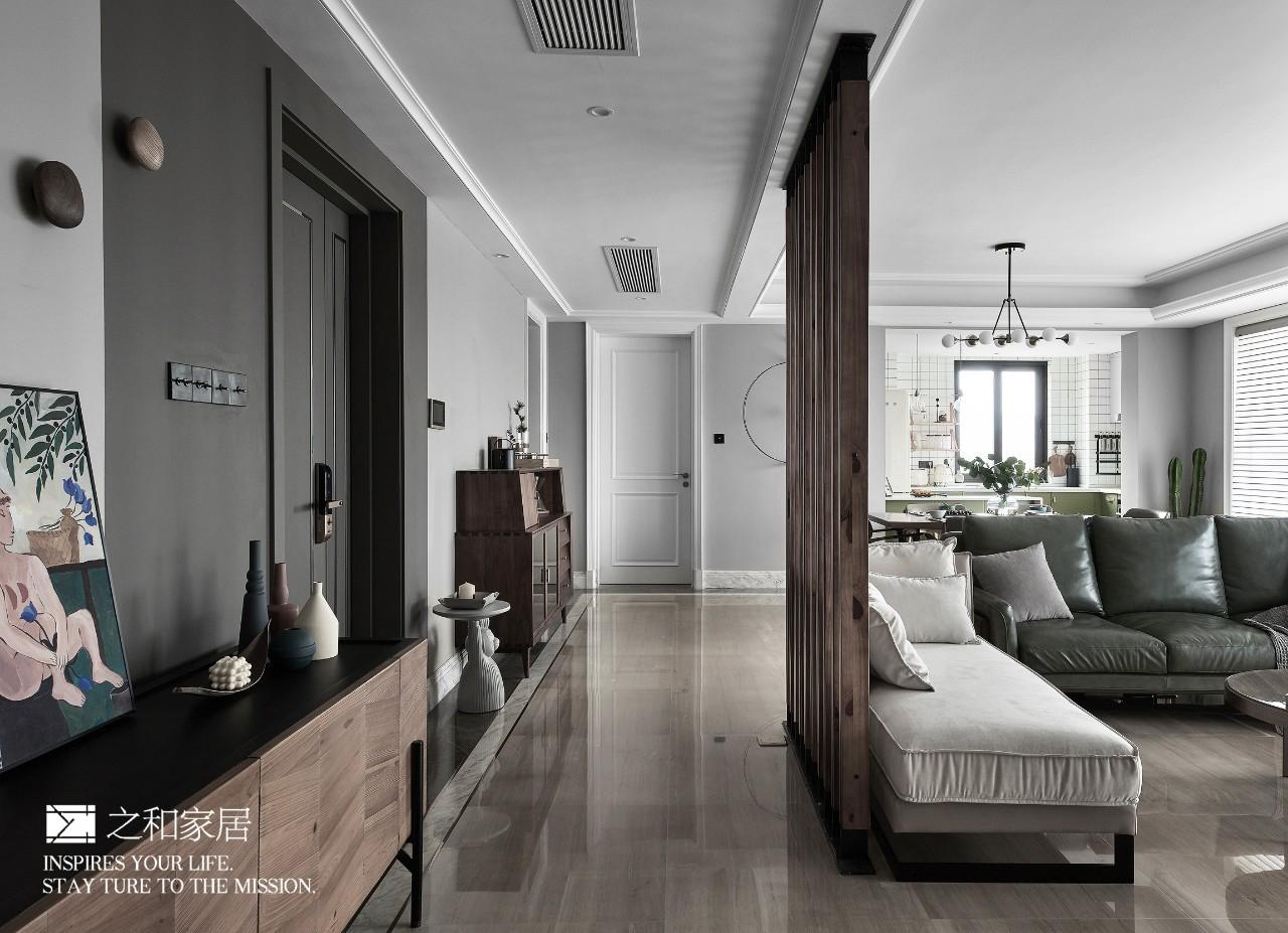 客厅170㎡现代混搭风玄关走道装修效果图