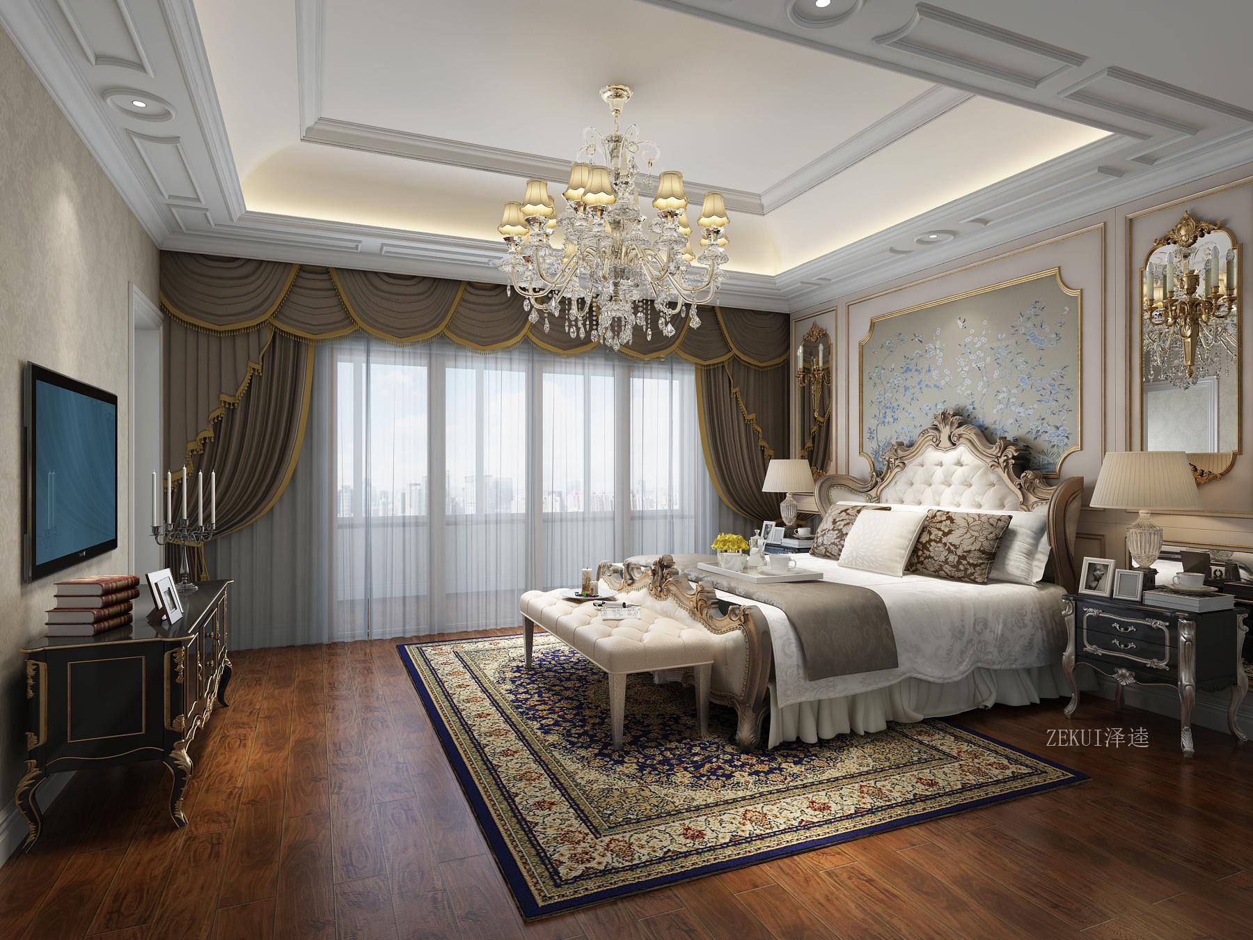 豪华欧式别墅卧室装修效果图