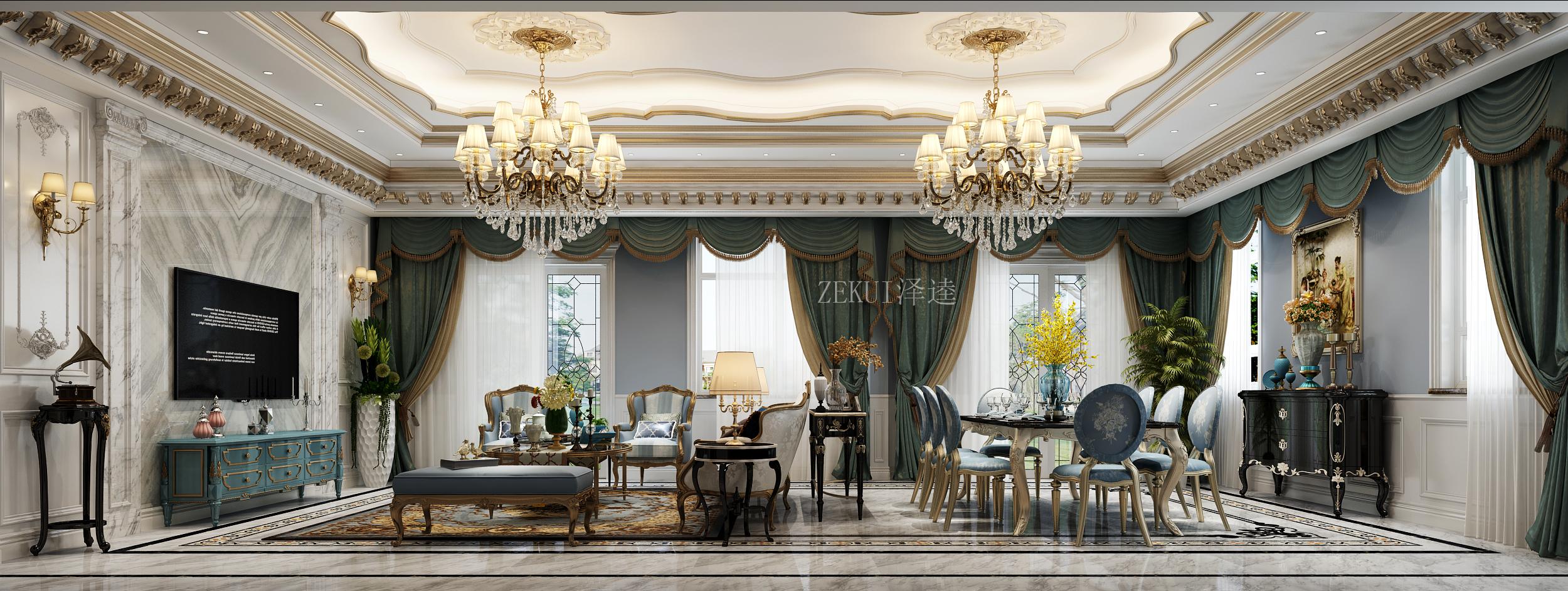豪华欧式别墅客餐厅装修效果图