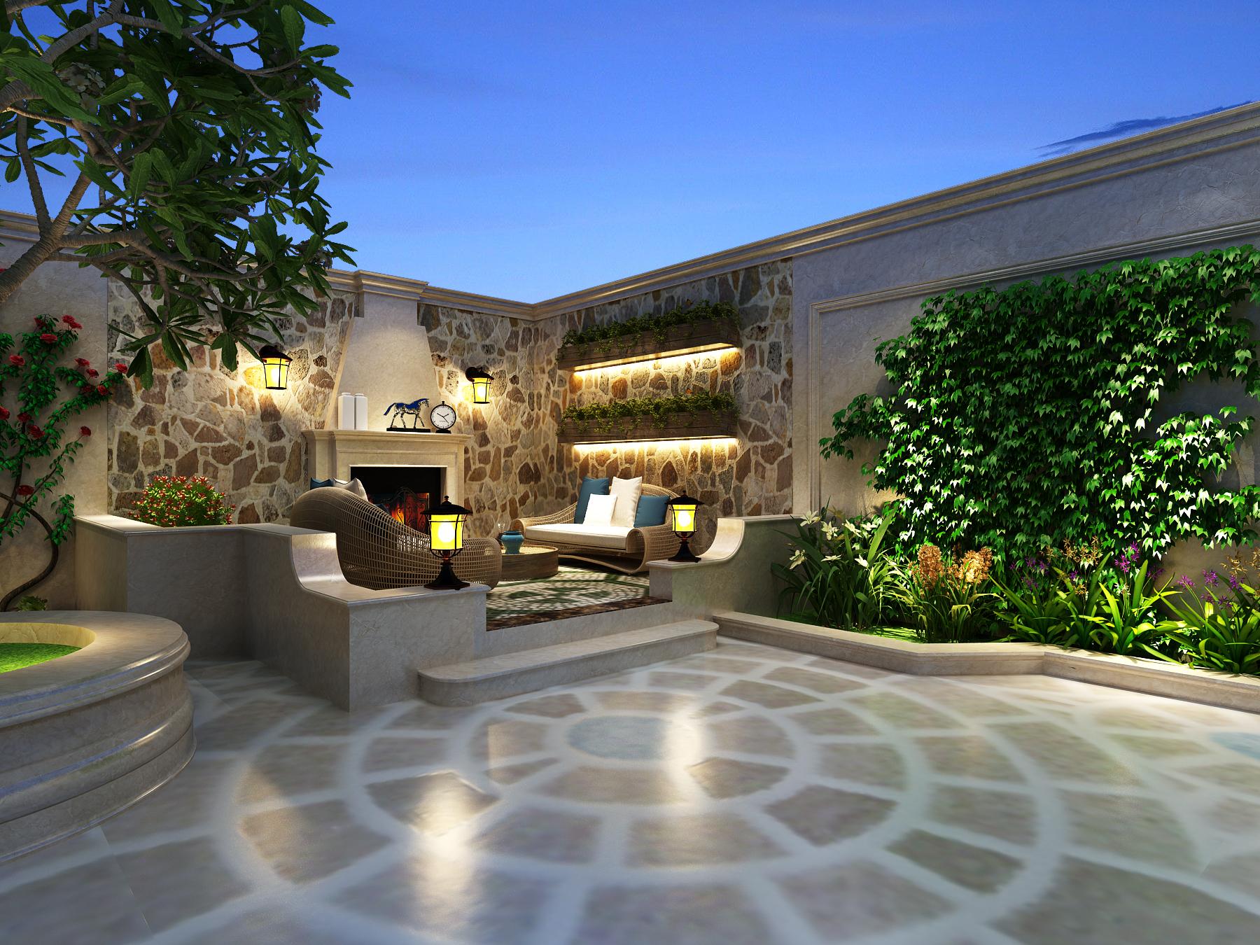 豪华欧式别墅庭院装修效果图