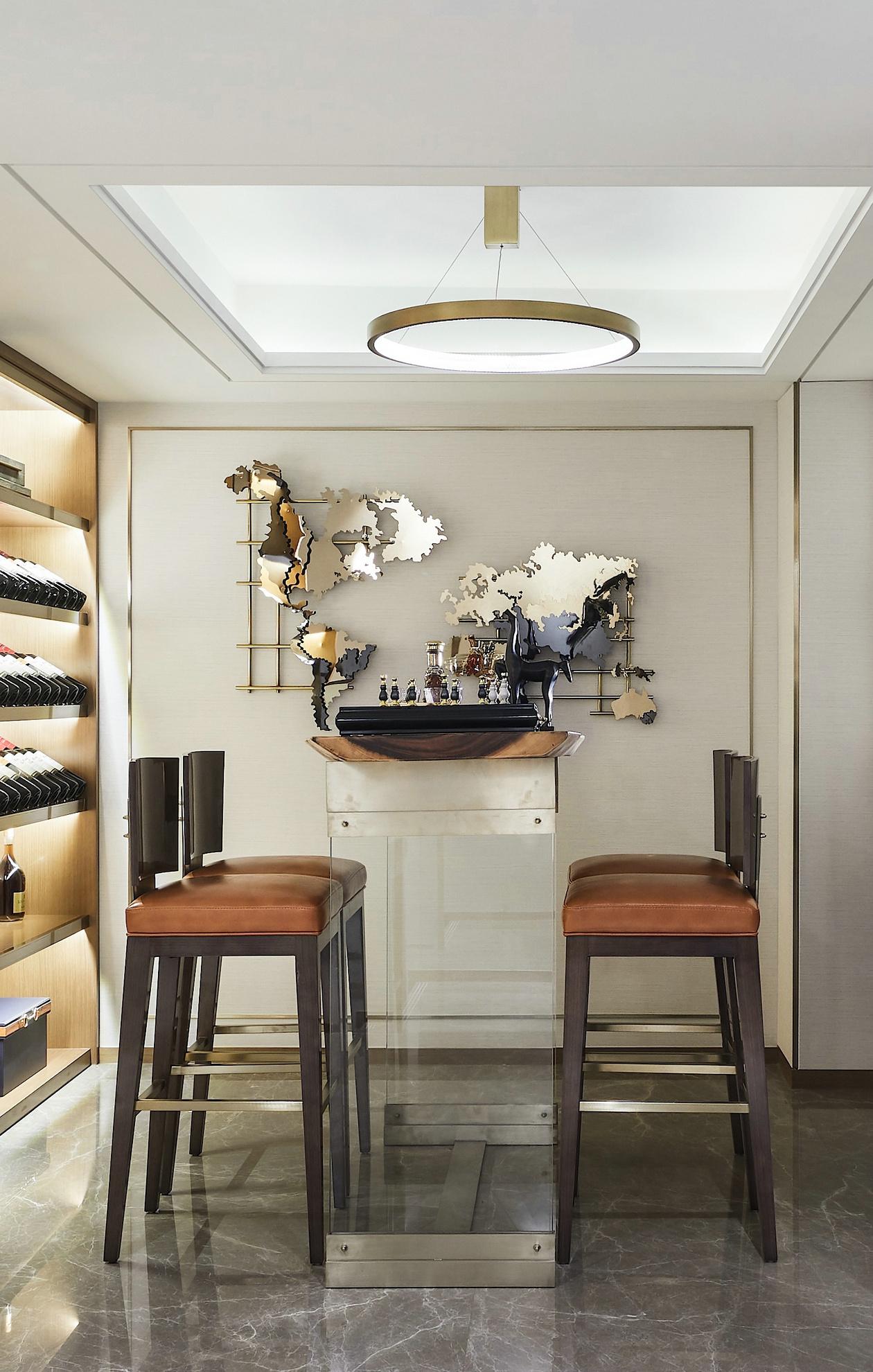 现代新中式别墅吧台装修效果图