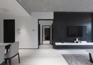 黑白灰现代简约电视背景墙装修效果图
