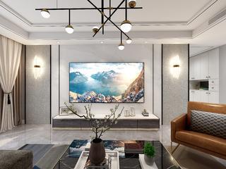 轻奢现代三居电视背景墙装修效果图