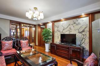 中式风格二居室电视背景墙装修效果图