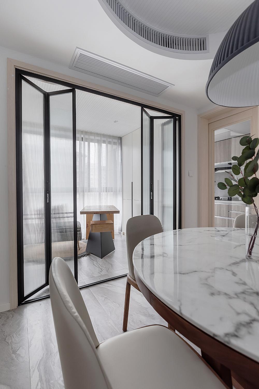 160㎡北欧现代风装修玻璃折叠门设计