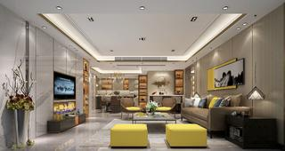 大户型现代轻奢风格客厅装修效果图