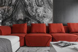 170平现代风格装修红色沙发设计图