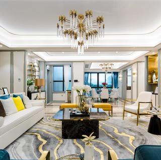 现代中式轻奢三居装修效果图