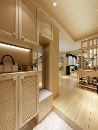 日式原木风装修玄关鞋柜设计图