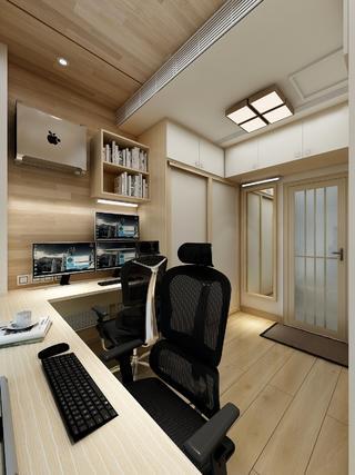 日式原木风书房装修效果图