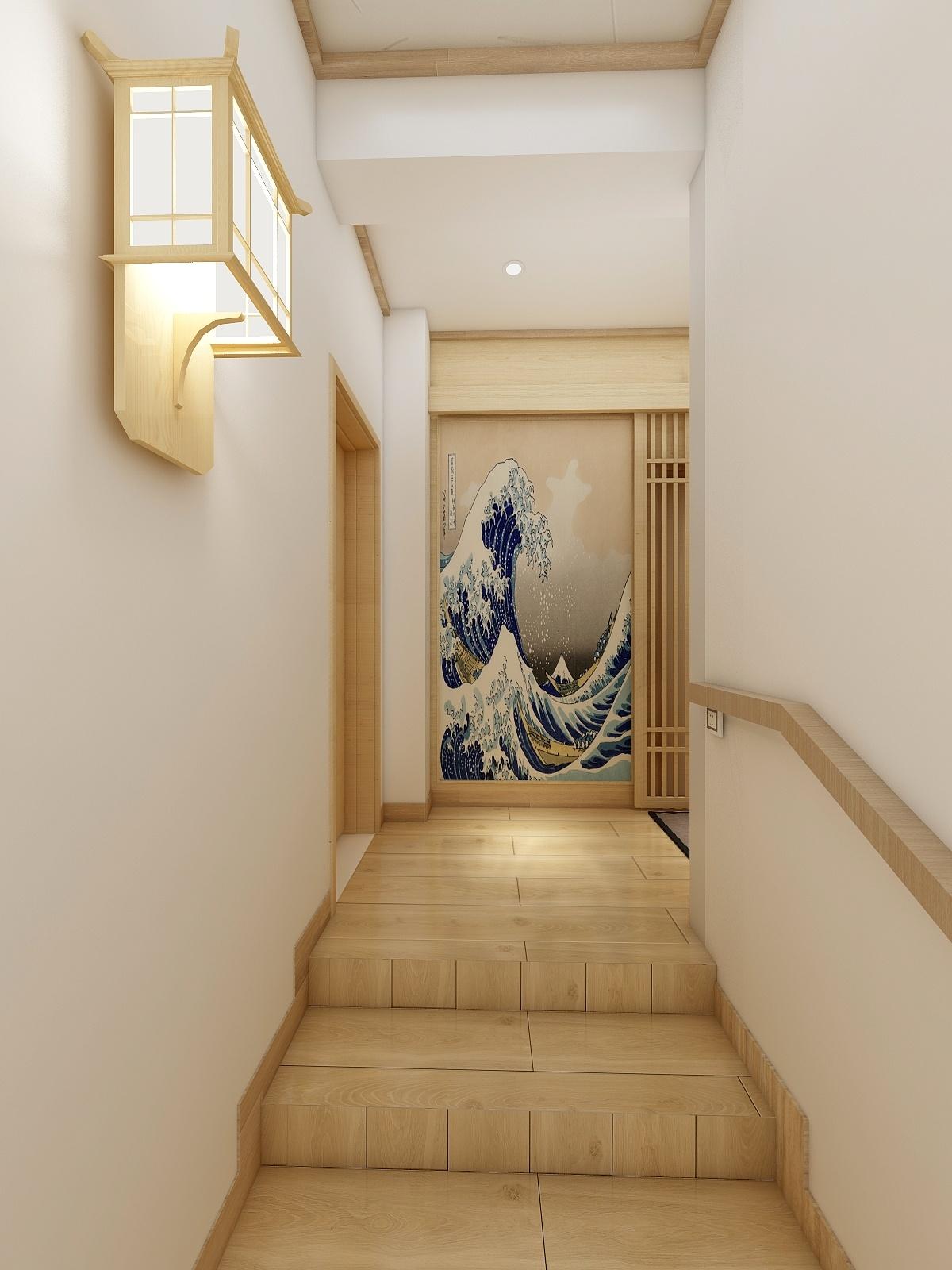 日式原木风楼梯走道装修效果图