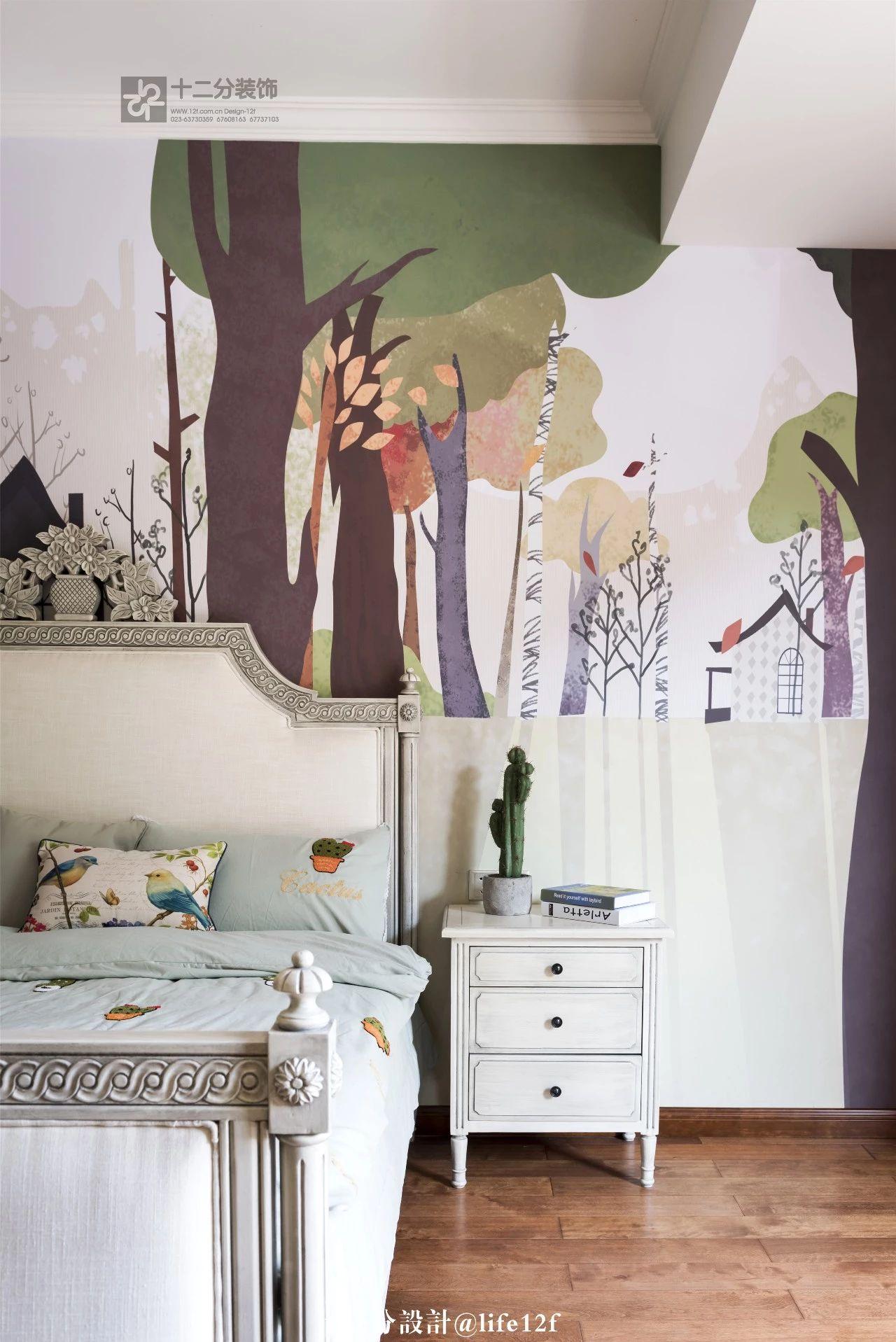 法式乡村风格别墅装修床头柜设计图