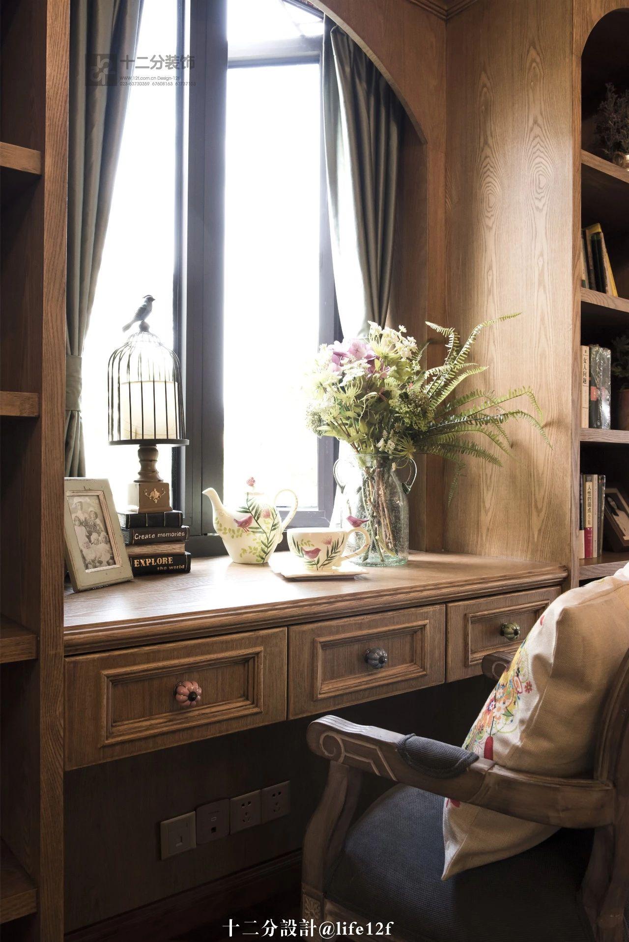 法式乡村风格别墅装修书桌设计图