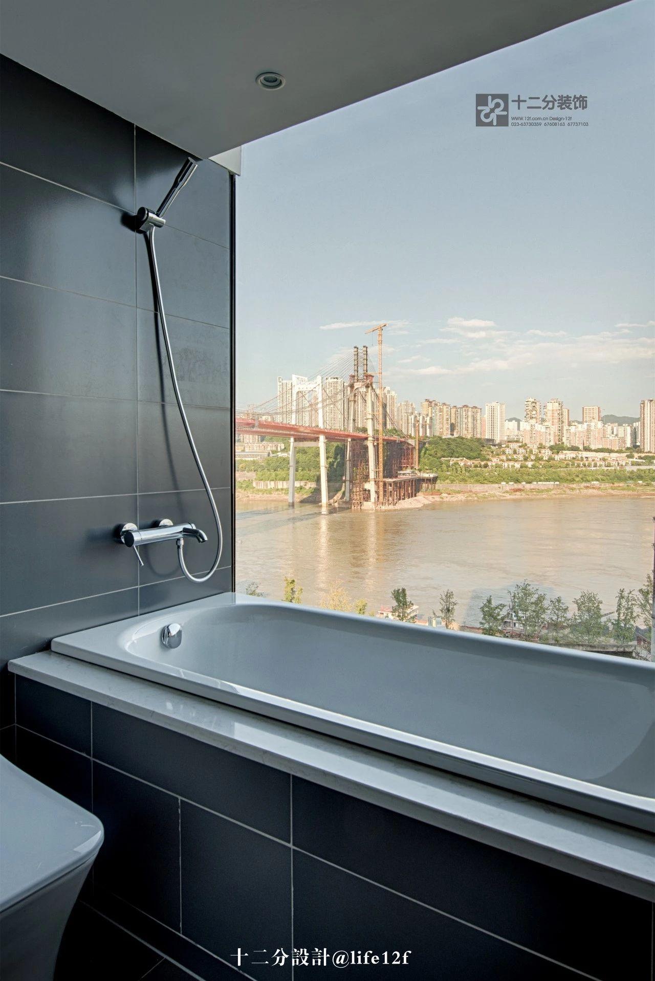 166㎡现代简约风格装修浴缸设计图