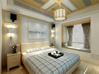 日式原木风卧室装修效果图