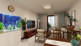 简约中式风格两居客厅装修效果图