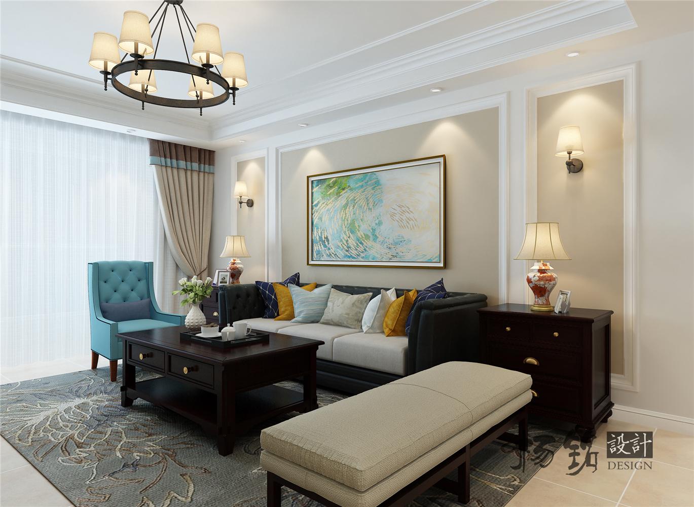 135㎡美式风格沙发背景墙装修效果图