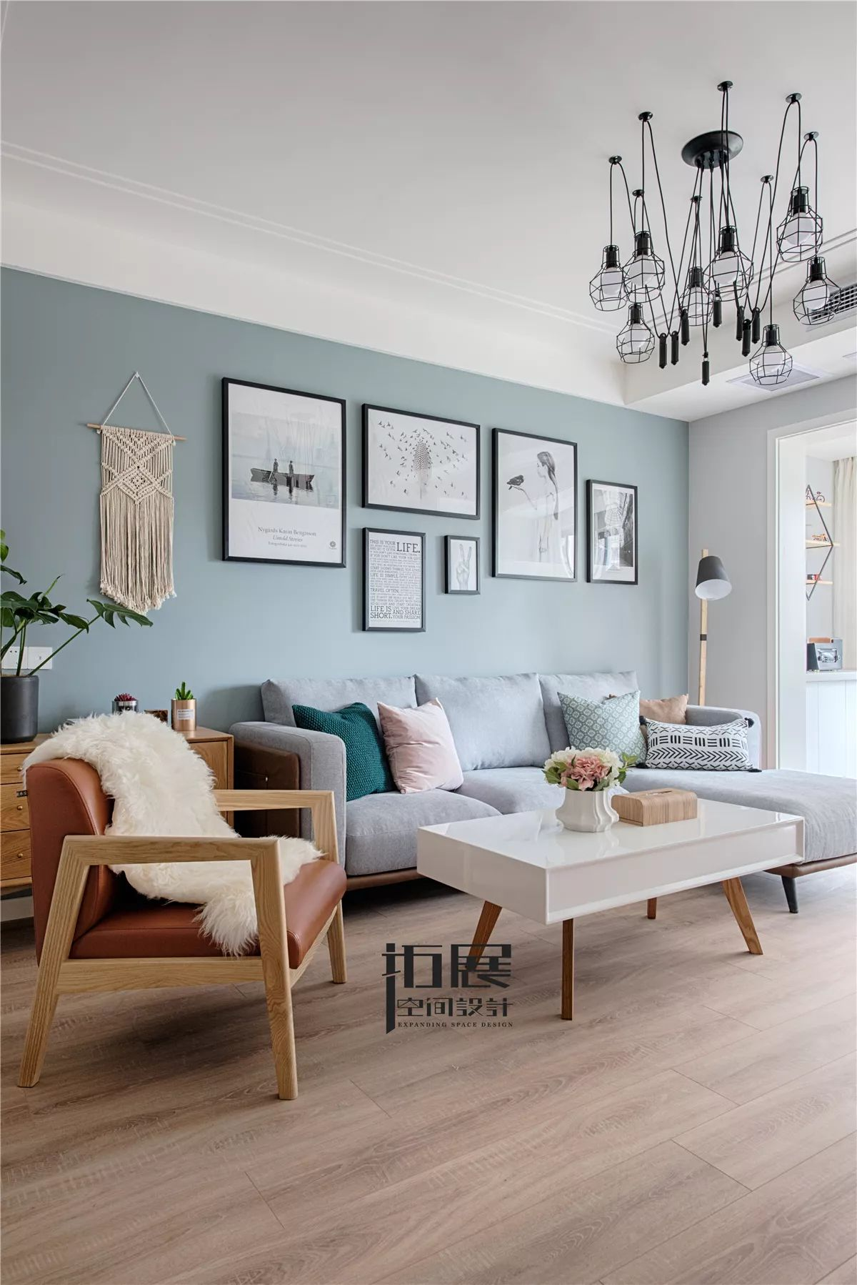 北欧风格两居室沙发背景墙装修效果图
