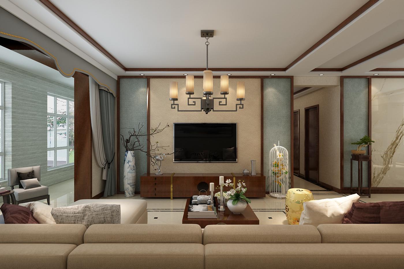 130㎡新中式风格电视背景墙装修效果图