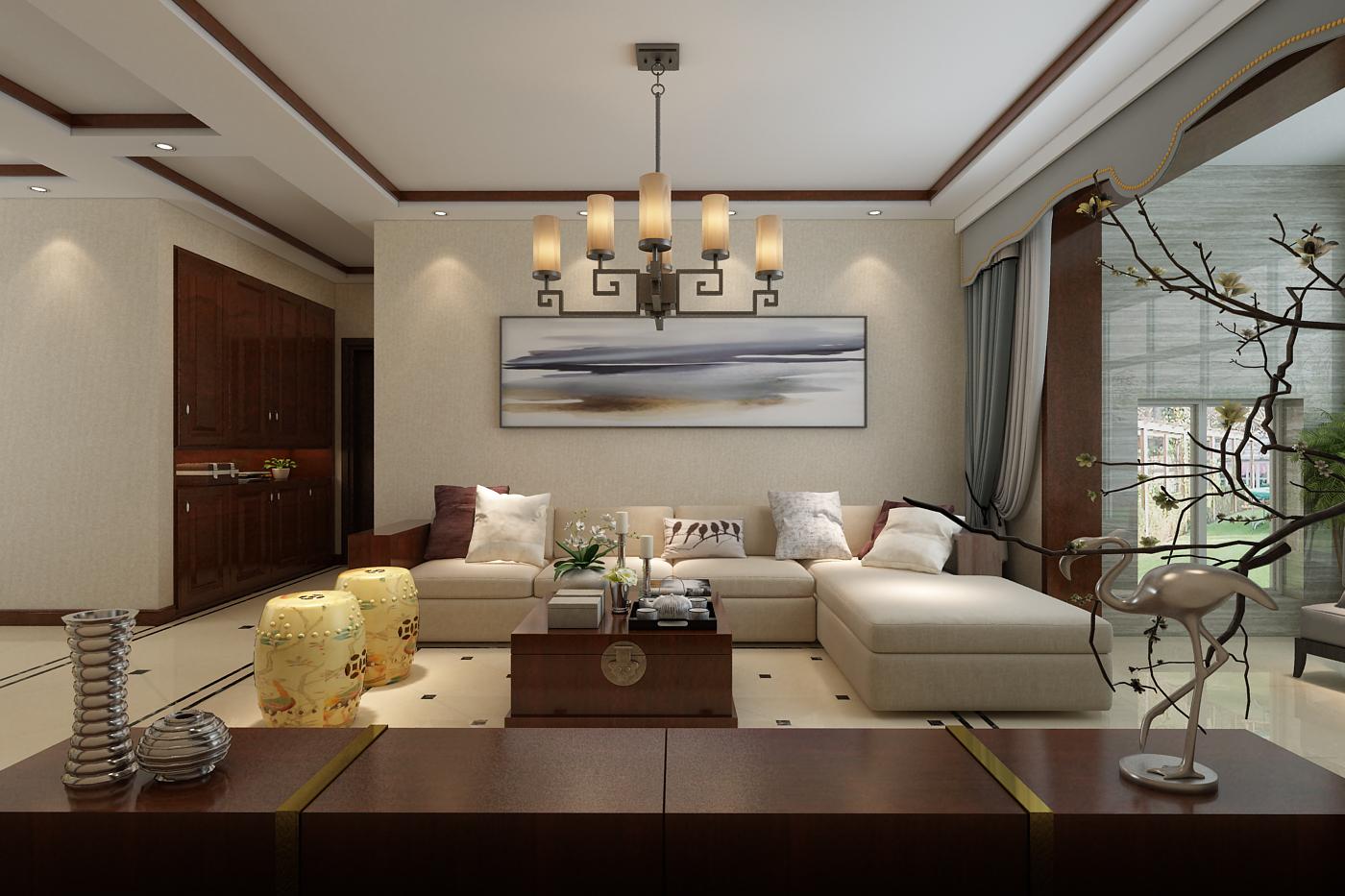 130㎡新中式风格沙发背景墙装修效果图