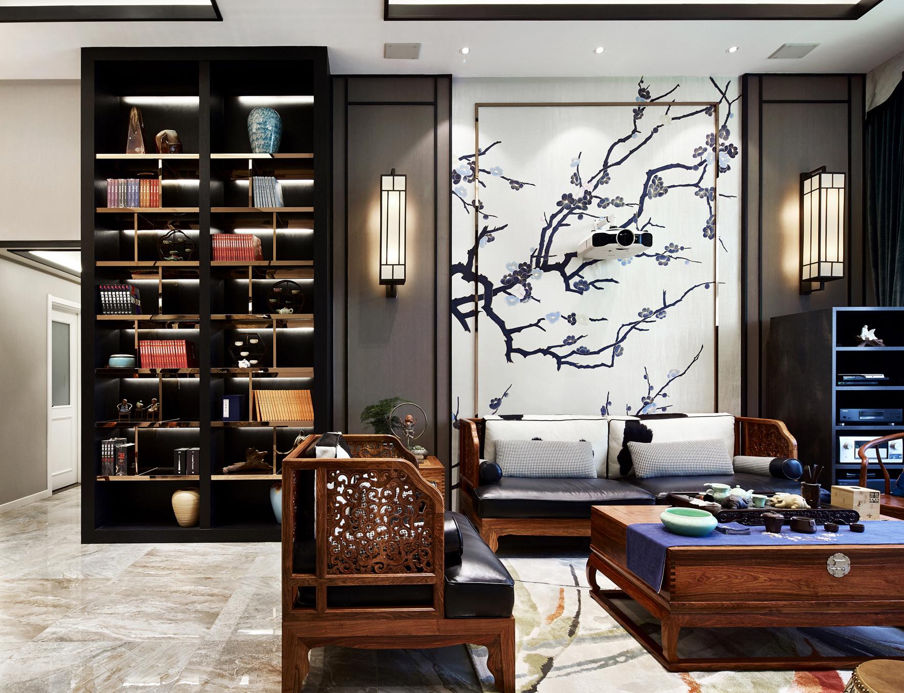 200㎡现代中式沙发背景墙装修效果图