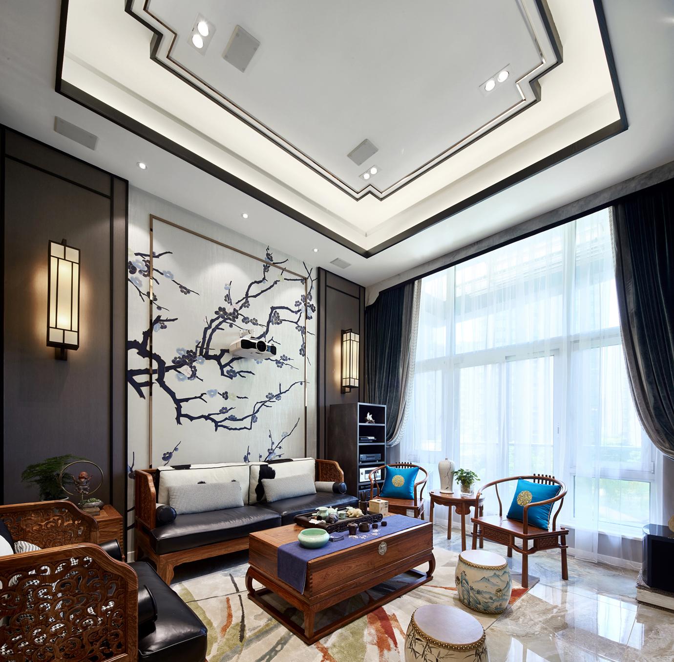 200㎡现代中式客厅吊顶装修效果图