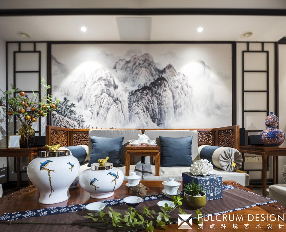 大户型新中式沙发背景墙装修效果图