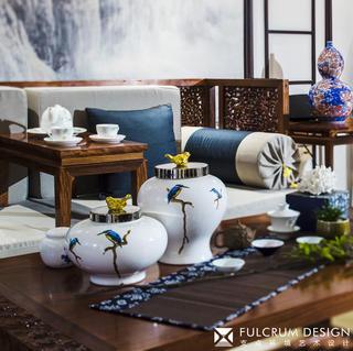 大户型新中式装修茶几摆件特写