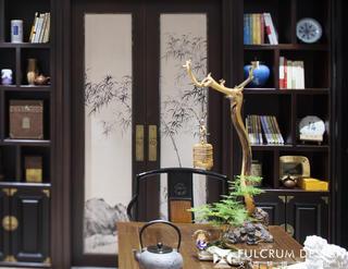 大户型新中式装修书柜设计图