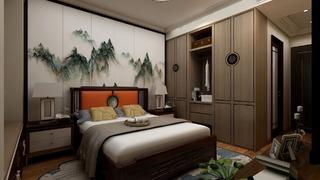 100平中式风格卧室装修效果图