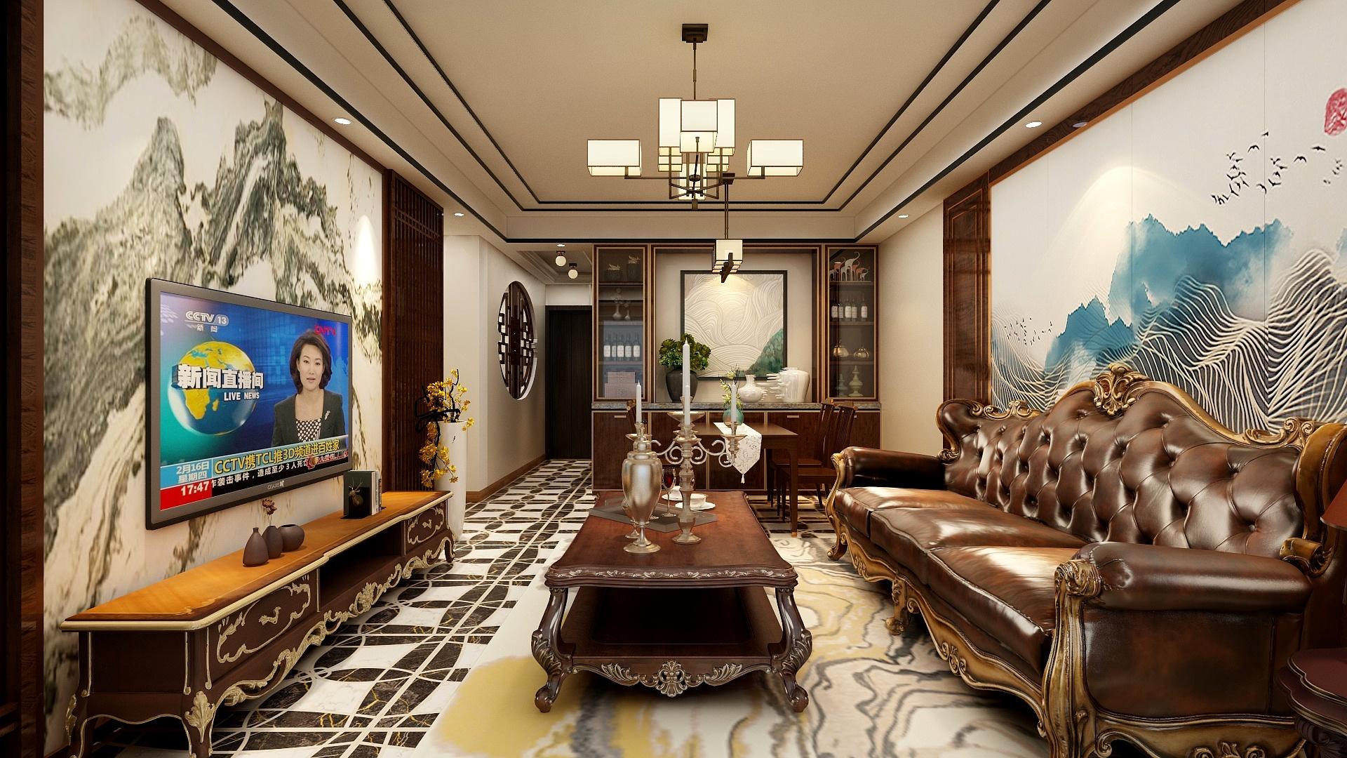 100平中式风格客厅装修效果图