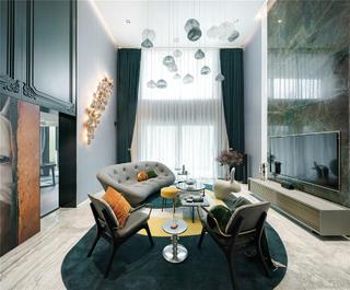 300㎡复式公寓客厅装修效果图