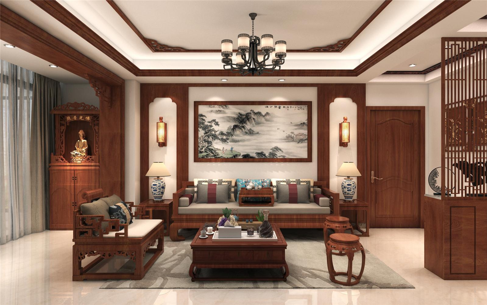 中式风格沙发背景墙装修效果图