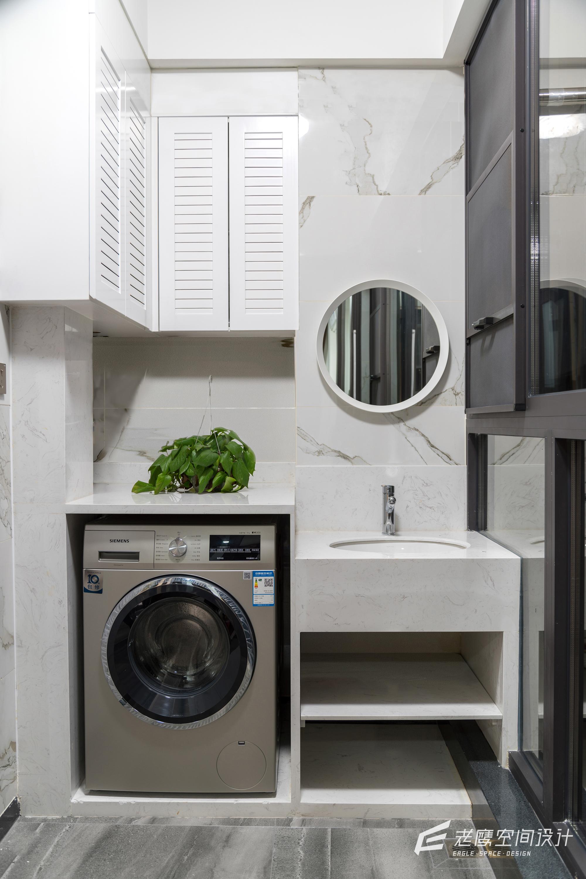 大户型现代简约阳台洗衣区装修效果图