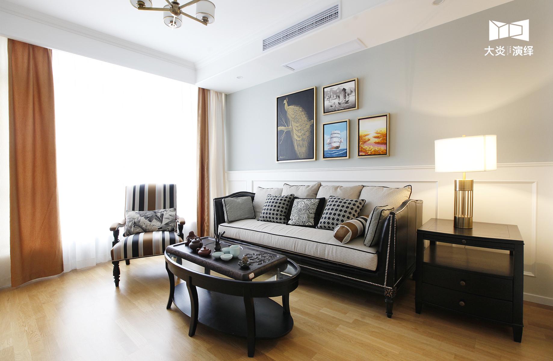 大户型简美风格起居室装修效果图