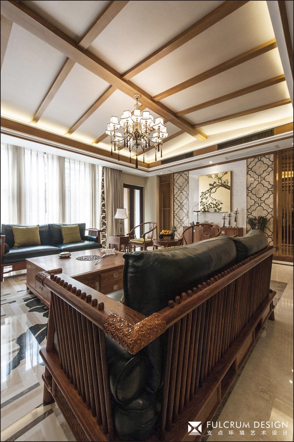 中式风格别墅客厅吊顶装修效果图