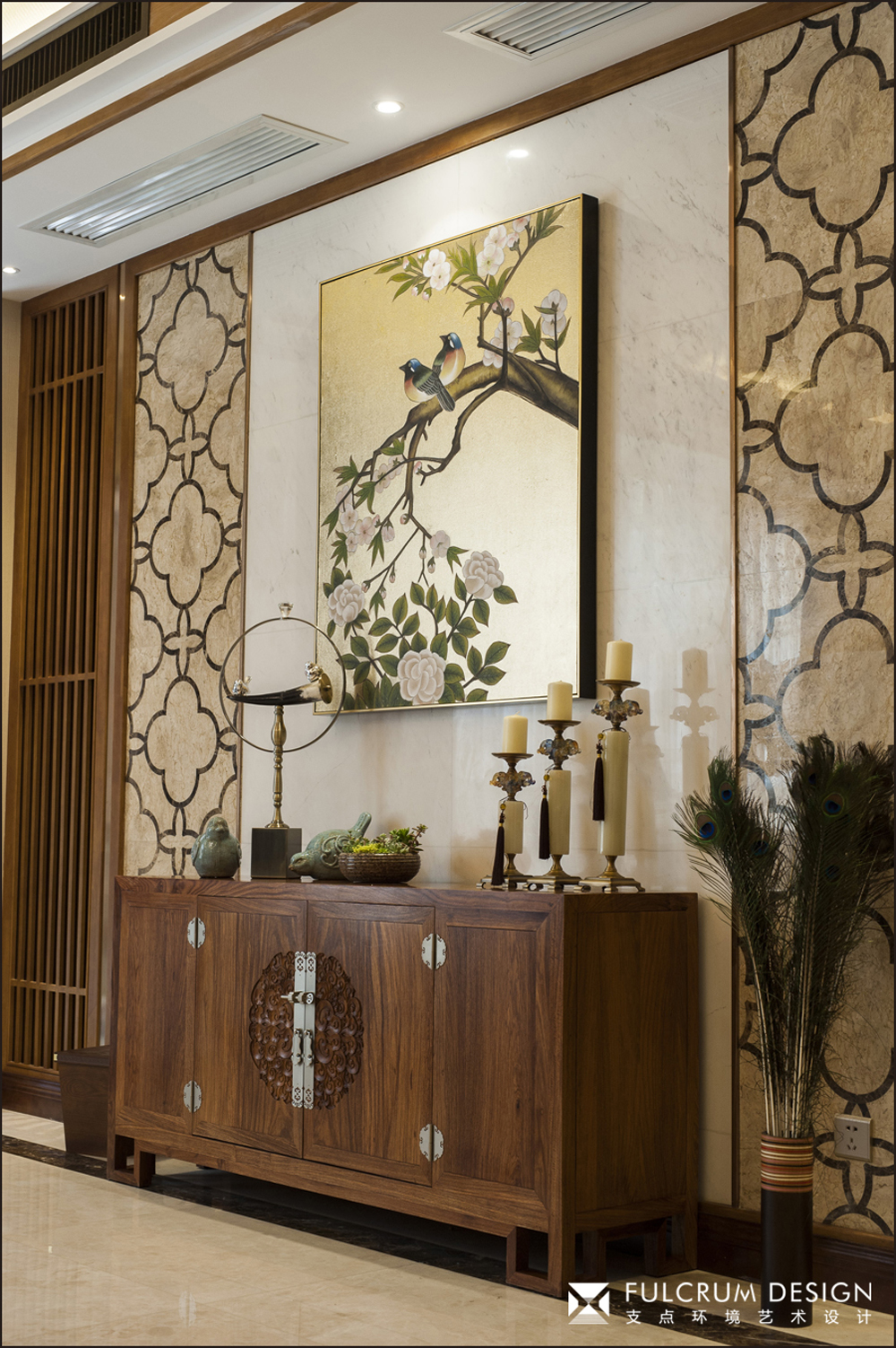 中式风格别墅装修边柜设计图