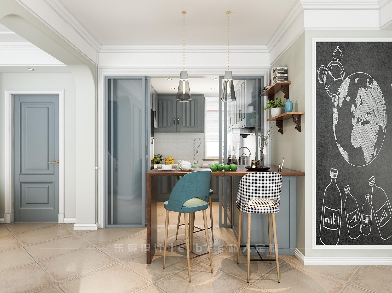 100平美式风格厨房吧台装修效果图