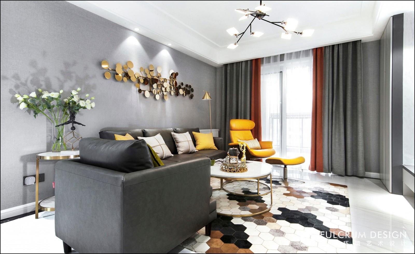 120㎡现代简约沙发背景墙装修效果图