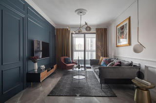89㎡休闲法式风格客厅装修效果图