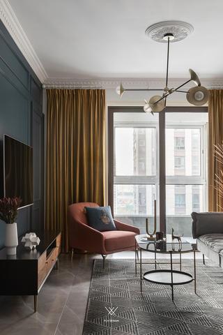 89㎡休闲法式风格装修客厅窗帘设计图