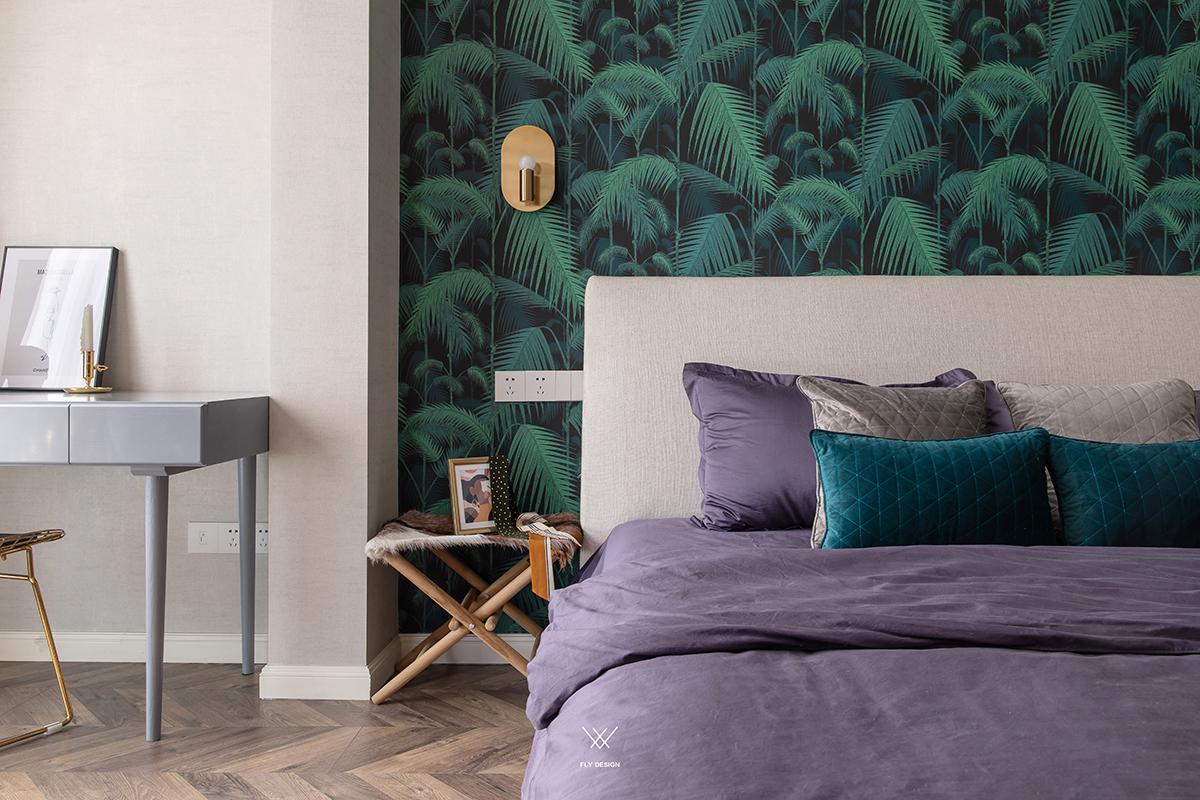 89㎡休闲法式风格装修床头墙纸设计