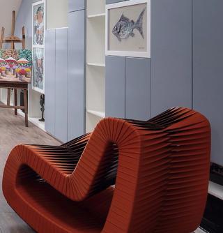 现代混搭风格别墅装修红色躺椅设计