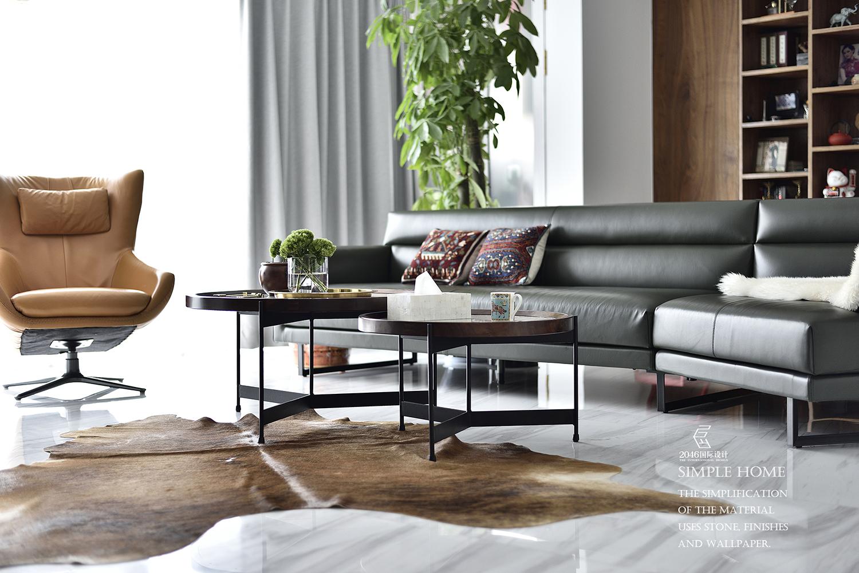现代风格三居室装修茶几设计图