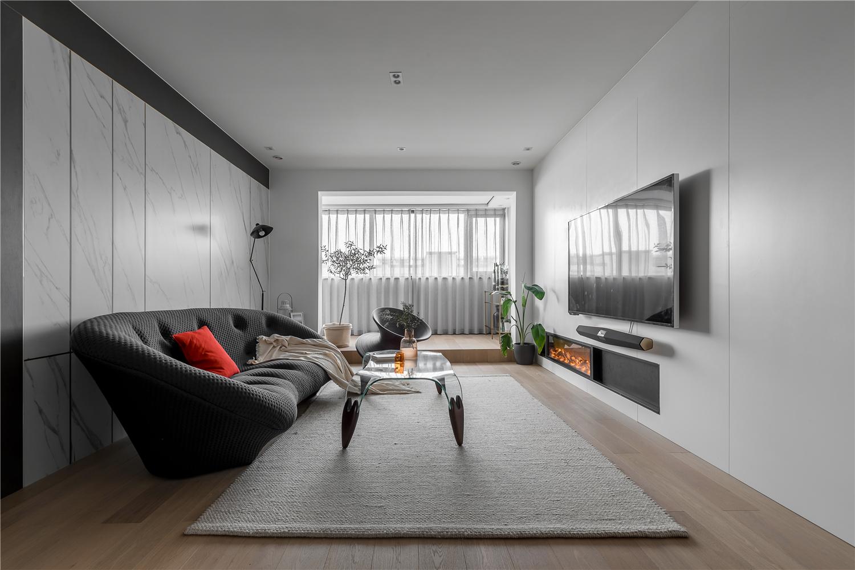 90平现代简约二居客厅装修效果图