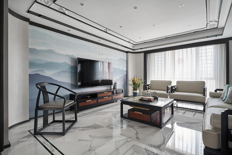 现代中式风别墅客厅电视背景墙装修效果图