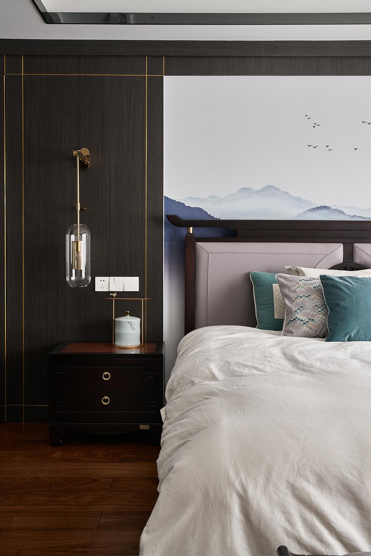 现代中式风别墅卧室装修效果图