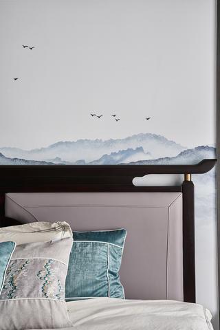 现代中式风别墅装修床头细节图